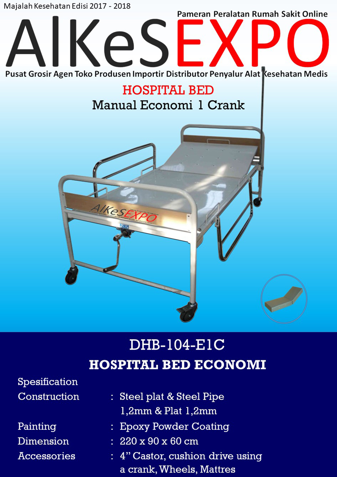 Hospital Bed Economi 1 Crank DHB-104-E1C