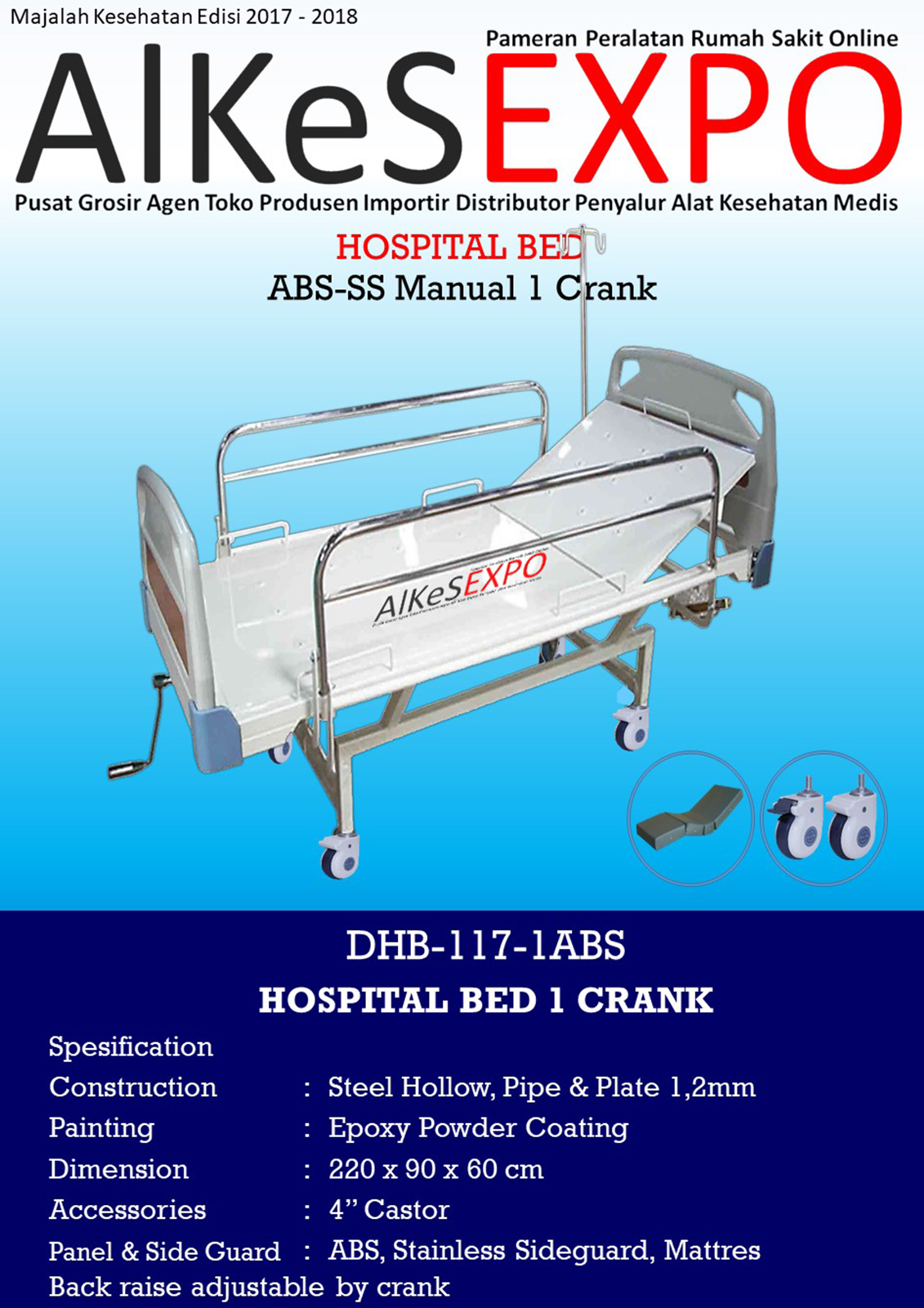 Hospital Bed Manual ABS-SS 1 Crank DHB-117-1ABS