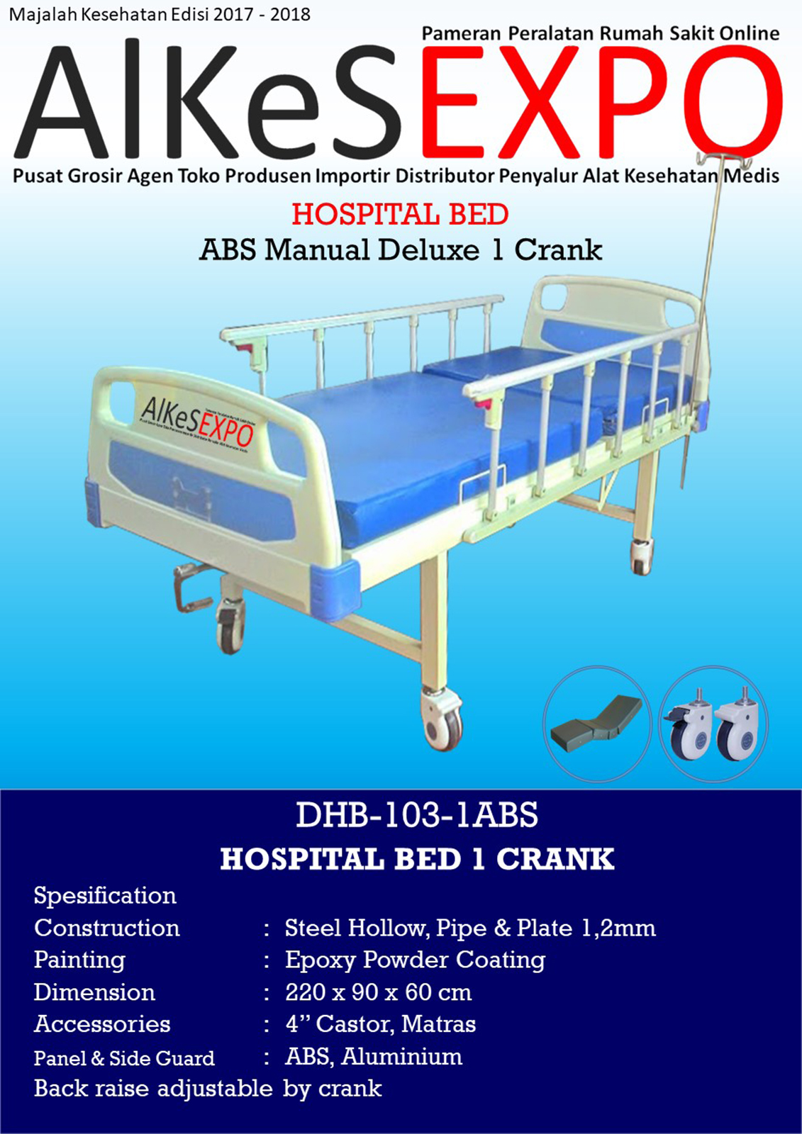 Hospital Bed Manual Deluxe 1 Crank DHB-103-1ABS