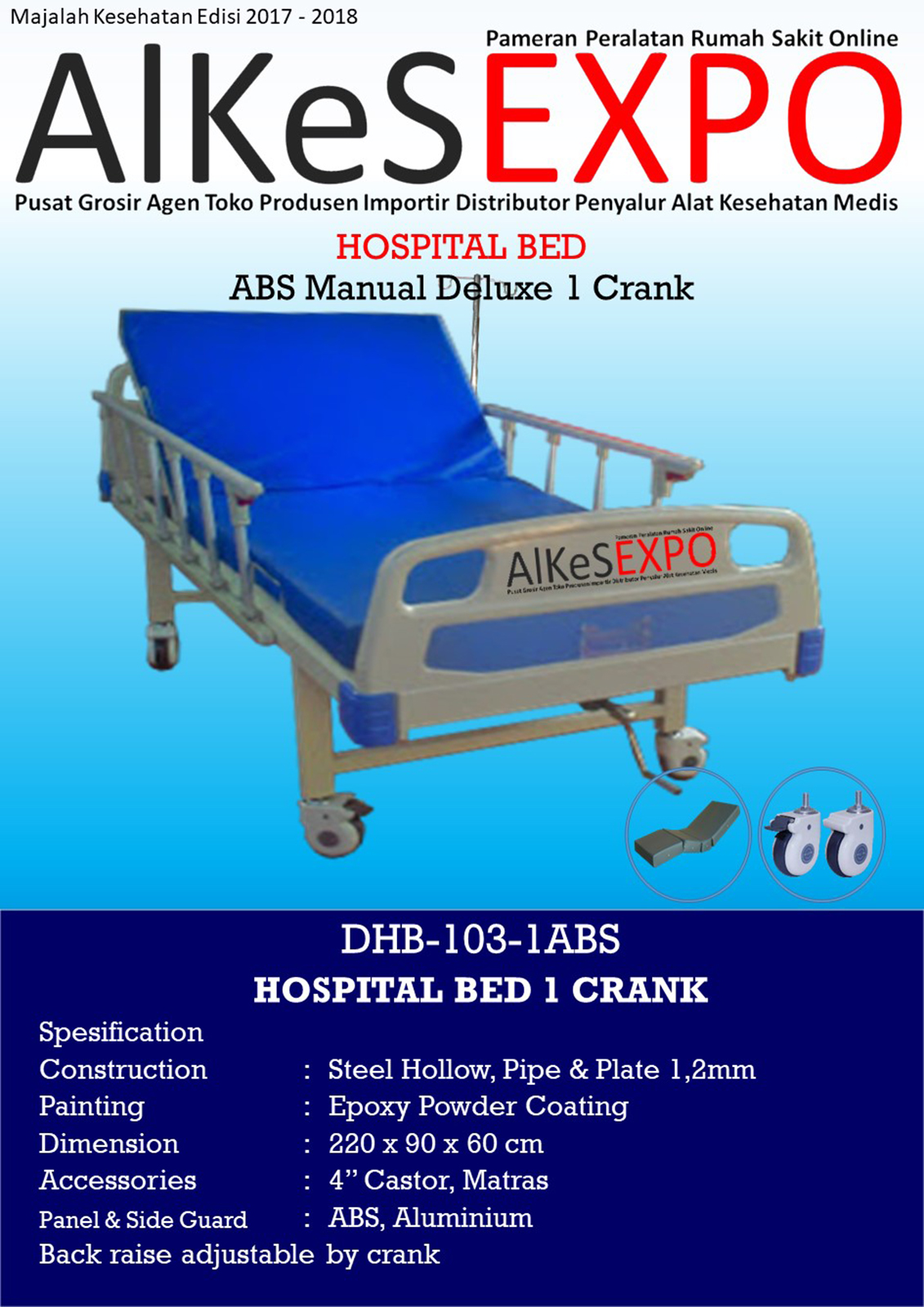 Hospital Bed Manual Deluxe 1 Crank DHB-103-ABS