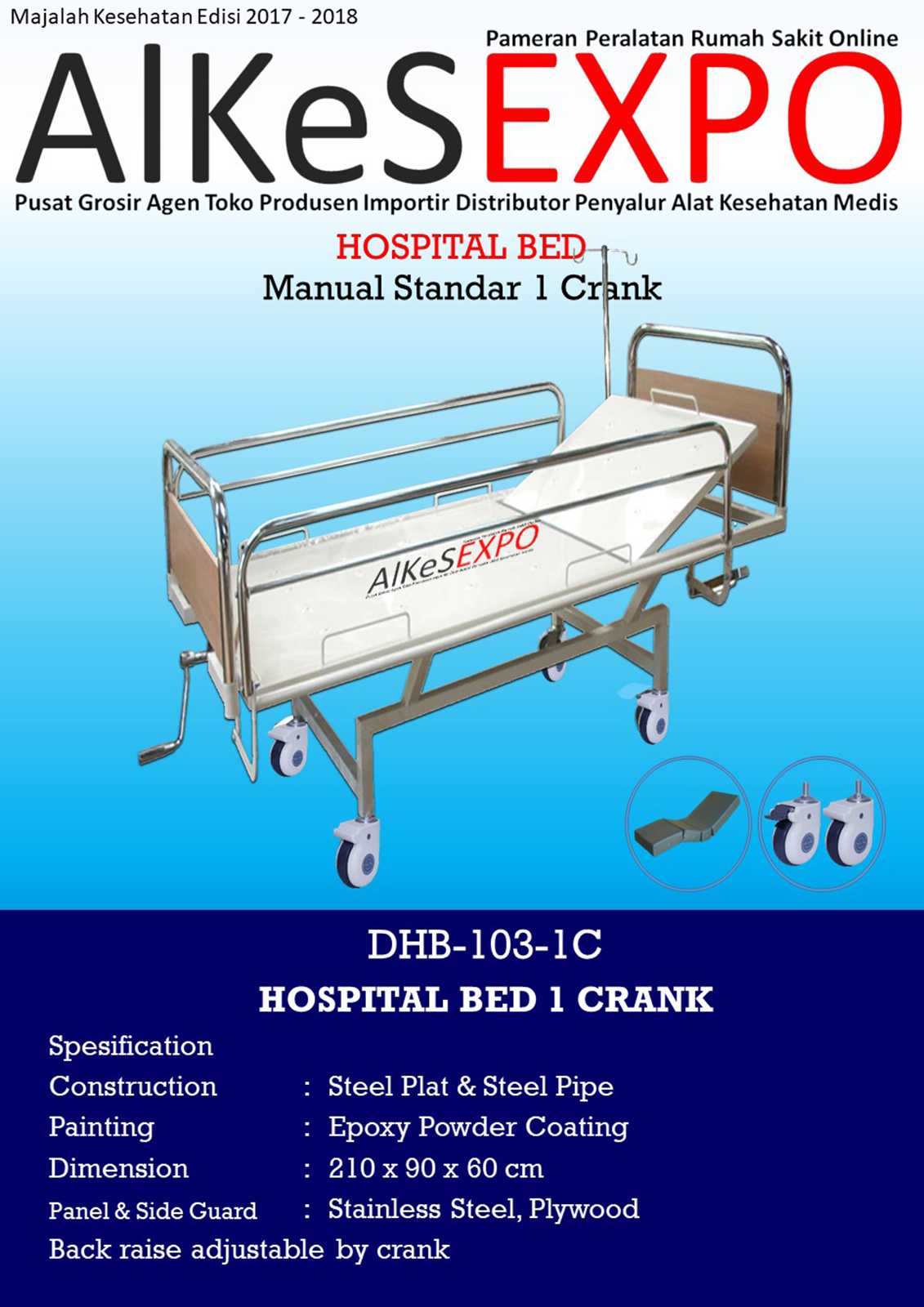 Hospital Bed Manual Standar 1 Crank DHB-103-1C