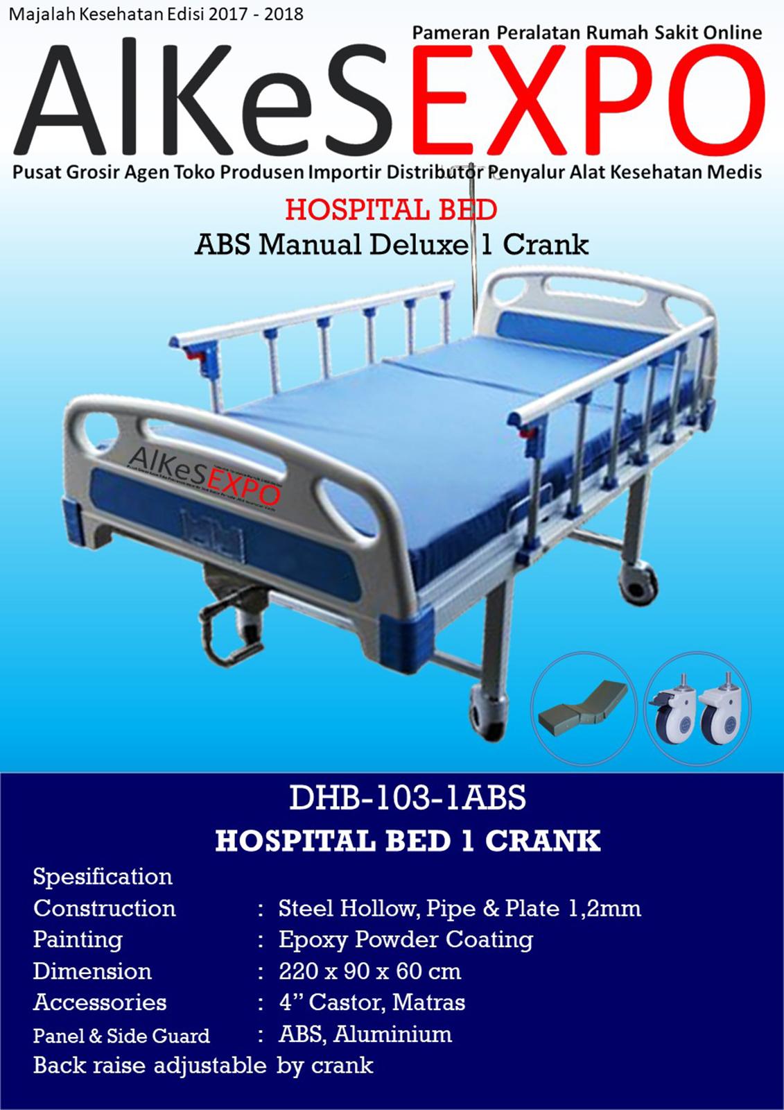 Ranjang Pasien Manual Deluxe 1 Crank DHB-103-1ABS