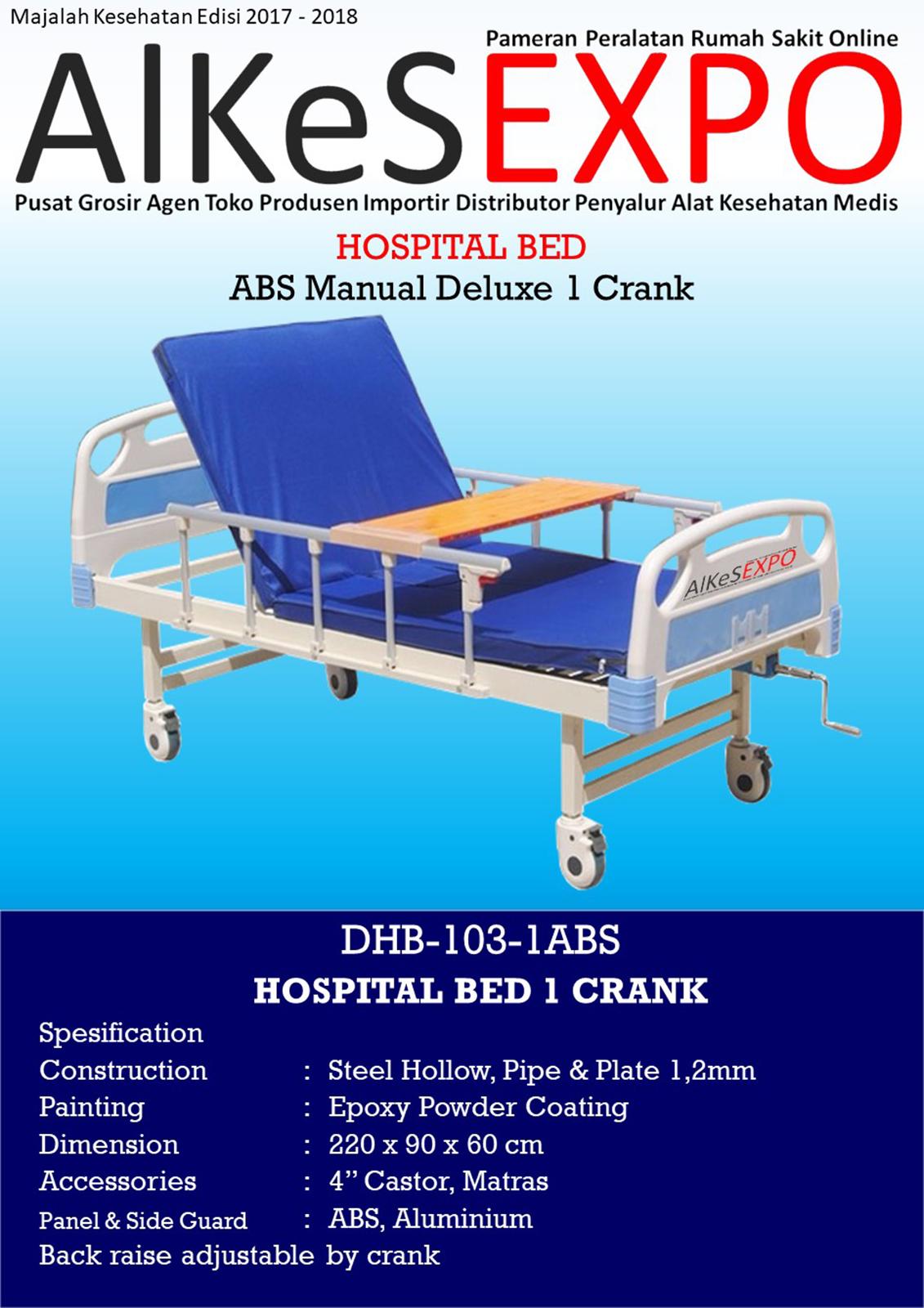 Tempat Tidur Pasien Manual Deluxe 1 Crank DHB-103-ABS